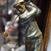 Figural Golfing Ashtray Marble and Bronze Patinated